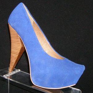 Matiko Lydia blue suede seamed platform heels 7.5M